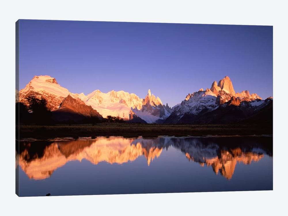 Cerro Solo, Cerro Torre And Mount Fitz Roy At Dawn, Los Glaciares National Park, Patagonia, Argentina by Colin Monteath 1-piece Canvas Print