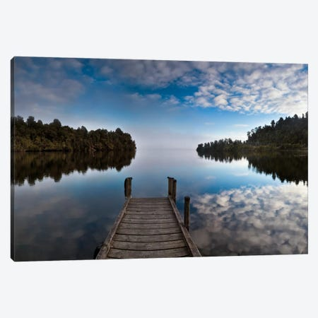 Dock In Lake Mapourika With Mist Rising Off Water, Westland National Park, New Zealand Canvas Print #COL12} by Colin Monteath Canvas Artwork