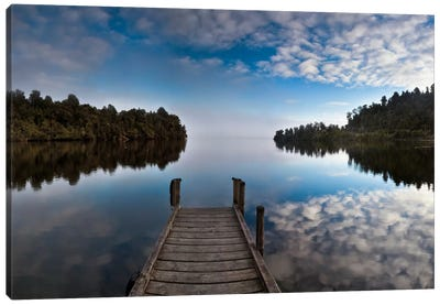 Dock In Lake Mapourika With Mist Rising Off Water, Westland National Park, New Zealand Canvas Art Print
