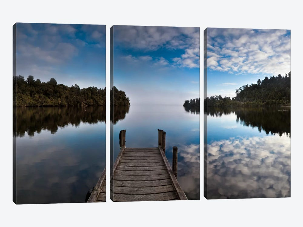 Dock In Lake Mapourika With Mist Rising Off Water, Westland National Park, New Zealand by Colin Monteath 3-piece Art Print