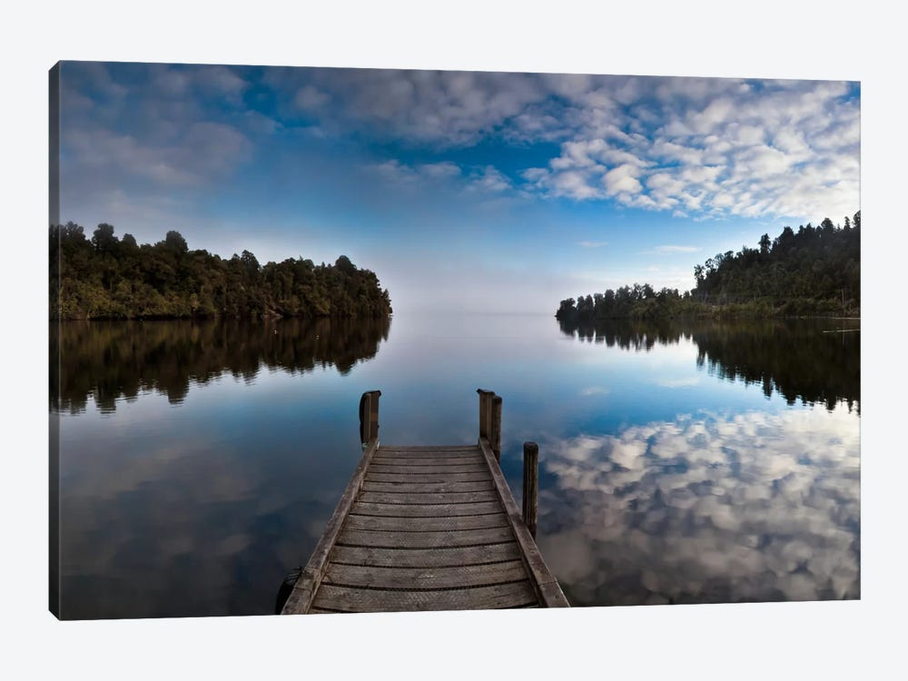 Dock In Lake Mapourika With Mist Rising Off Water, Westland National Park, New Zealand by Colin Monteath 1-piece Art Print
