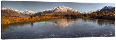 Frozen Tarn Seen From Mt Sunday Near Mt Potts Station, Canterbury, New Zealand Canvas Art Print