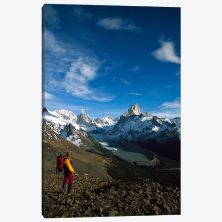 Hiker On Loma Plieque Tumbado Admiring View Of Cerro Torre & Mount Fitz Roy, Los Glaciares National Park, Patagonia, Argentina Canvas Print #COL19} by Colin Monteath Canvas Art