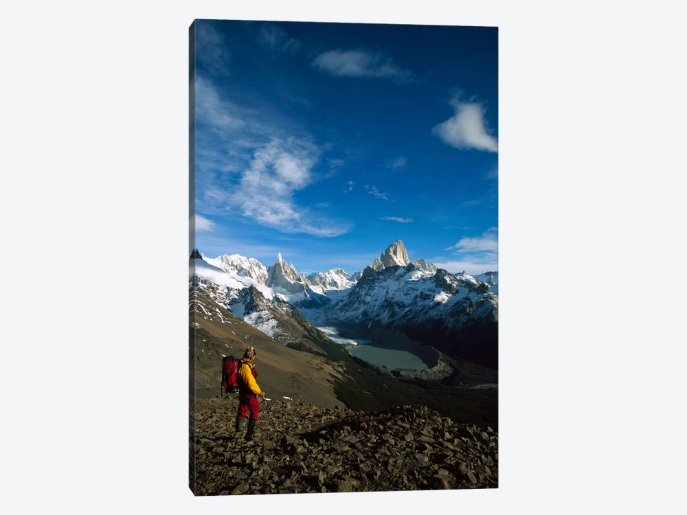 Hiker On Loma Plieque Tumbado Admiring View Of Cerro Torre & Mount Fitz Roy, Los Glaciares National Park, Patagonia, Argentina 1-piece Canvas Art