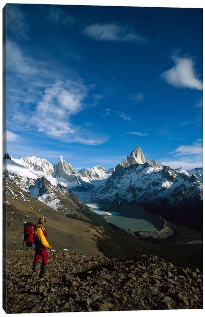 Hiker On Loma Plieque Tumbado Admiring View Of Cerro Torre & Mount Fitz Roy, Los Glaciares National Park, Patagonia, Argentina Canvas Art Print
