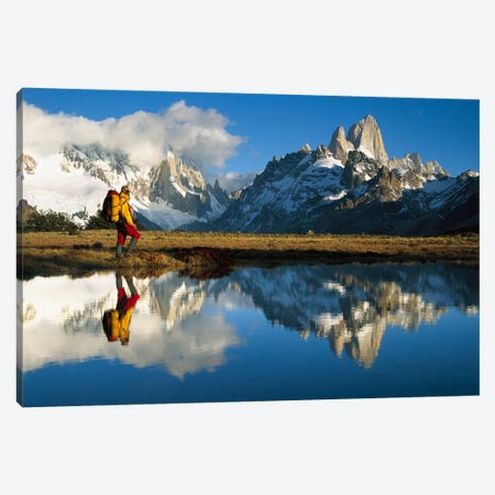 Rippled Reflections In Small Pond At Dawn, Loma Plieque Tumbado, Los Glaciares National Park, Patagonia, Argentina Canvas Print #COL20} by Colin Monteath Canvas Art Print