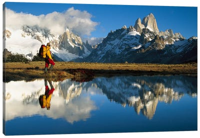 Rippled Reflections In Small Pond At Dawn, Loma Plieque Tumbado, Los Glaciares National Park, Patagonia, Argentina Canvas Art Print