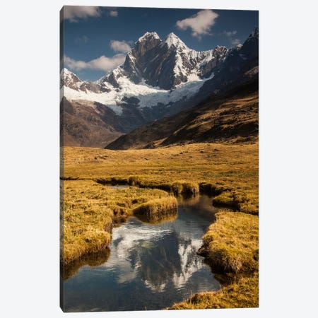 Jirishanca Peak, 6090 Meters, Reflection In Stream Running Into Mitococha Lake, Cordillera Huayhuash, Andes, Peru Canvas Print #COL22} by Colin Monteath Canvas Print