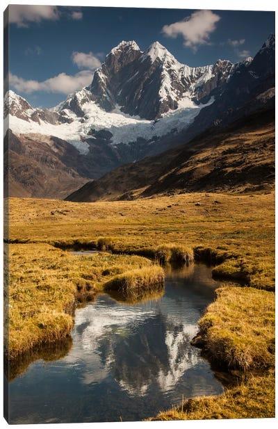 Jirishanca Peak, 6090 Meters, Reflection In Stream Running Into Mitococha Lake, Cordillera Huayhuash, Andes, Peru Canvas Art Print
