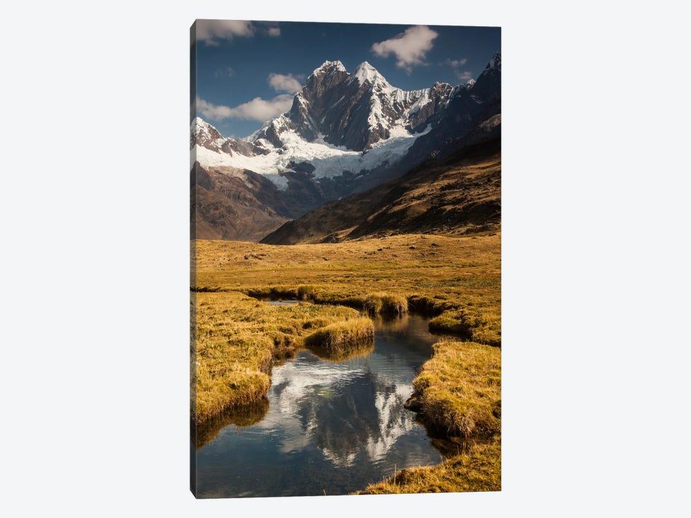 Jirishanca Peak, 6090 Meters, Reflection In Stream Running Into Mitococha Lake, Cordillera Huayhuash, Andes, Peru by Colin Monteath 1-piece Canvas Art