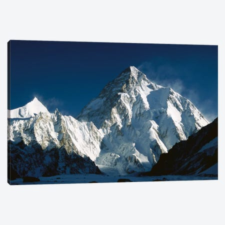 K2 At Dawn Seen From Camp Below Broad Peak, Godwin Austen Glacier, Karakoram Mountains, Pakistan Canvas Print #COL24} by Colin Monteath Canvas Artwork