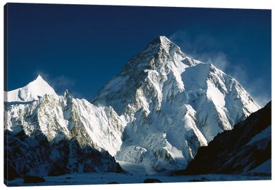 K2 At Dawn Seen From Camp Below Broad Peak, Godwin Austen Glacier, Karakoram Mountains, Pakistan Canvas Art Print