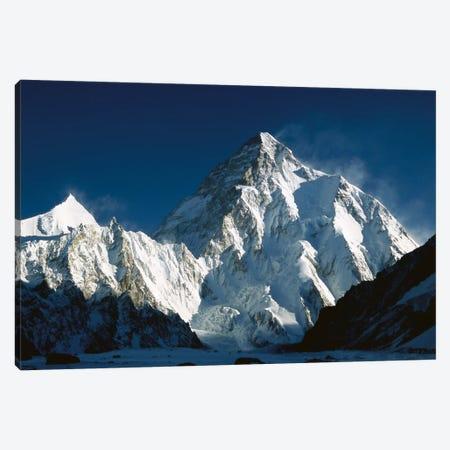 K2 At Dawn Seen From Camp Below Broad Peak, Godwin Austen Glacier, Karakoram Mountains, Pakistan Canvas Print #COL24} by Colin Monteath Canvas Artwork