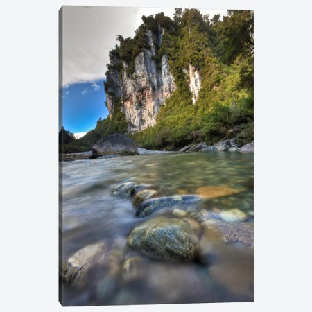 Limestone Cliffs And Fox River, Paparoa National Park, New Zealand Canvas Print #COL27} by Colin Monteath Canvas Art