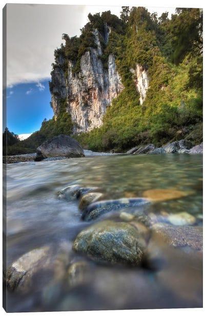 Limestone Cliffs And Fox River, Paparoa National Park, New Zealand Canvas Art Print