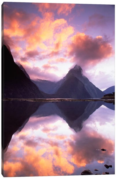 Mitre Peak At Sunset, Milford Sound, Fiordland National Park, New Zealand Canvas Art Print