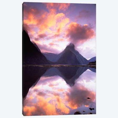 Mitre Peak At Sunset, Milford Sound, Fiordland National Park, New Zealand Canvas Print #COL29} by Colin Monteath Canvas Print