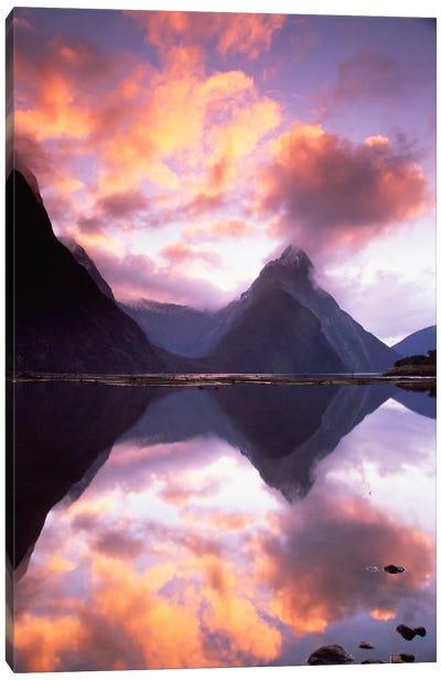Mitre Peak At Sunset, Milford Sound, Fiordland National Park, New Zealand Canvas Art Print