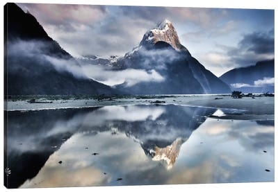 Mitre Peak Reflecting In Milford Sound In Winter At Dawn, Fiordland National Park, New Zealand Canvas Art Print