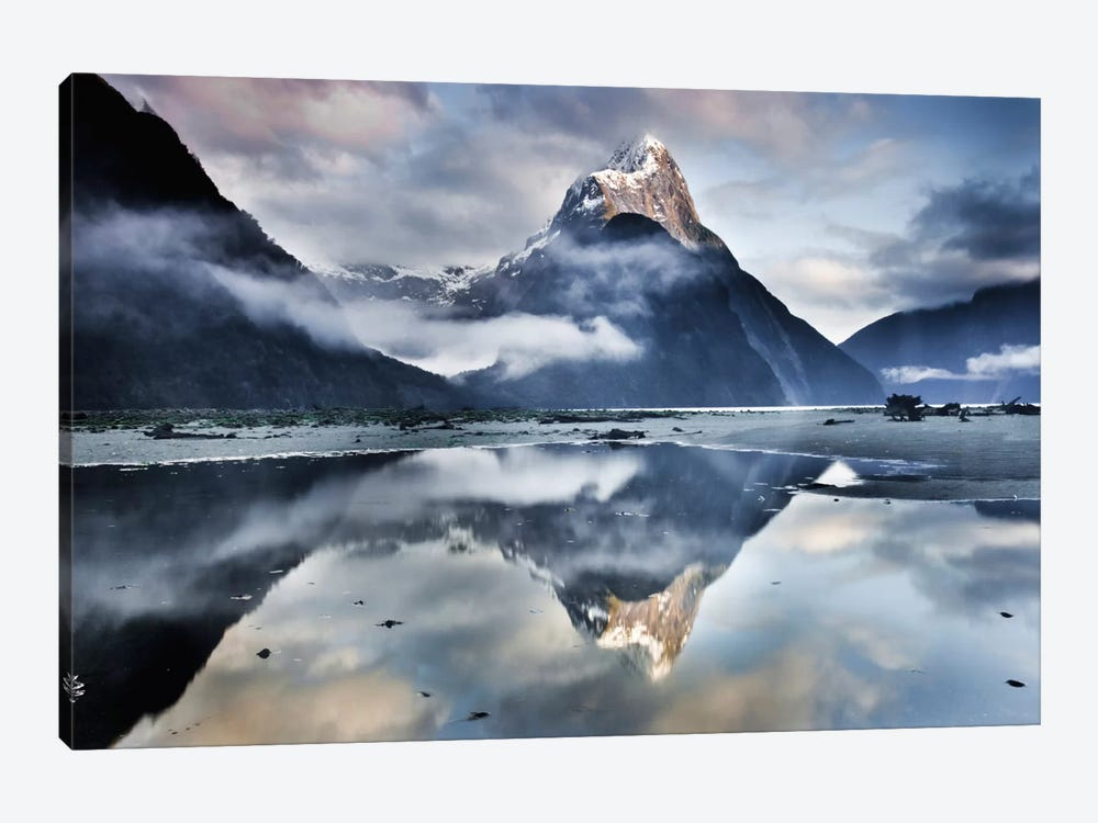 Mitre Peak Reflecting In Milford Sound In Winter At Dawn, Fiordland National Park, New Zealand by Colin Monteath 1-piece Canvas Art Print