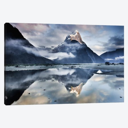 Mitre Peak Reflecting In Milford Sound In Winter At Dawn, Fiordland National Park, New Zealand Canvas Print #COL30} by Colin Monteath Canvas Art