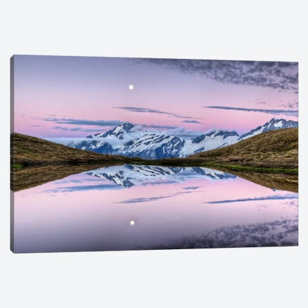 Mount Aspiring, Moonrise At Dusk Over Cascade Saddle, Mount Aspiring National Park, New Zealand Canvas Print #COL31} by Colin Monteath Canvas Artwork