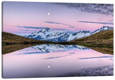 Mount Aspiring, Moonrise At Dusk Over Cascade Saddle, Mount Aspiring National Park, New Zealand Canvas Art Print