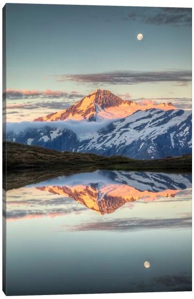 Mount Aspiring, Moonrise Over Cascade Saddle, Mount Aspiring National Park, New Zealand - Vertical Canvas Art Print