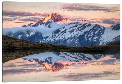 Mount Aspiring, Moonrise Over Cascade Saddle, Mount Aspiring National Park, New Zealand - Horizontal Canvas Art Print