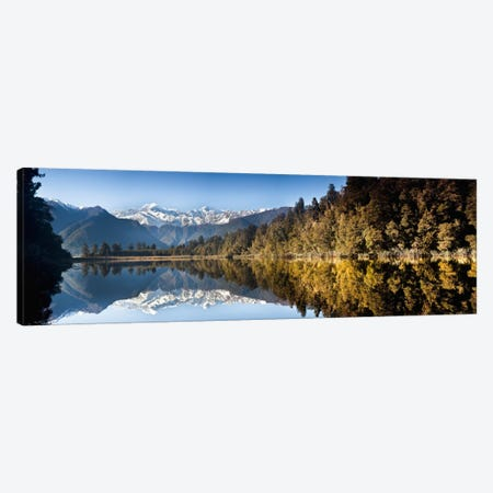 Mount Cook And Mount Tasman Reflected In Lake Matheson At Sunset Near Fox Glacier, New Zealand Canvas Print #COL34} by Colin Monteath Canvas Print