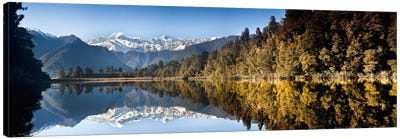 Mount Cook And Mount Tasman Reflected In Lake Matheson At Sunset Near Fox Glacier, New Zealand Canvas Art Print