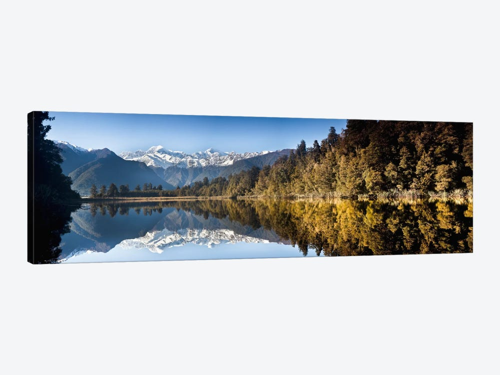 Mount Cook And Mount Tasman Reflected In Lake Matheson At Sunset Near Fox Glacier, New Zealand by Colin Monteath 1-piece Art Print