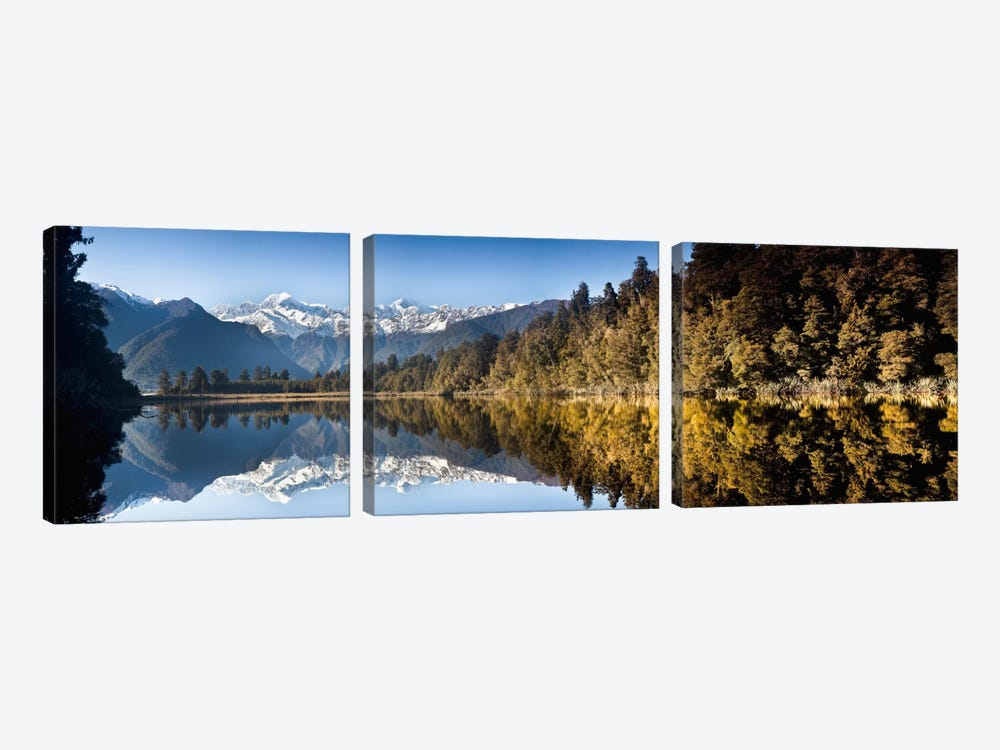 Mount Cook And Mount Tasman Reflected In Lake Matheson At Sunset Near Fox Glacier, New Zealand by Colin Monteath 3-piece Canvas Art Print