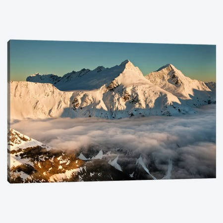 Mount Pollux And Mount Castor At Dawn, Wilkin Valley, Mount Aspiring National Park, New Zealand Canvas Print #COL35} by Colin Monteath Canvas Print