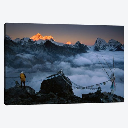 Mountaineer Enjoying The View Of Mt Everest And The Himalayan Mountains At Sunset From Gokyo Ri, Khumbu, Nepal Canvas Print #COL36} by Colin Monteath Canvas Print