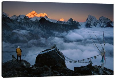 Mountaineer Enjoying The View Of Mt Everest And The Himalayan Mountains At Sunset From Gokyo Ri, Khumbu, Nepal Canvas Art Print