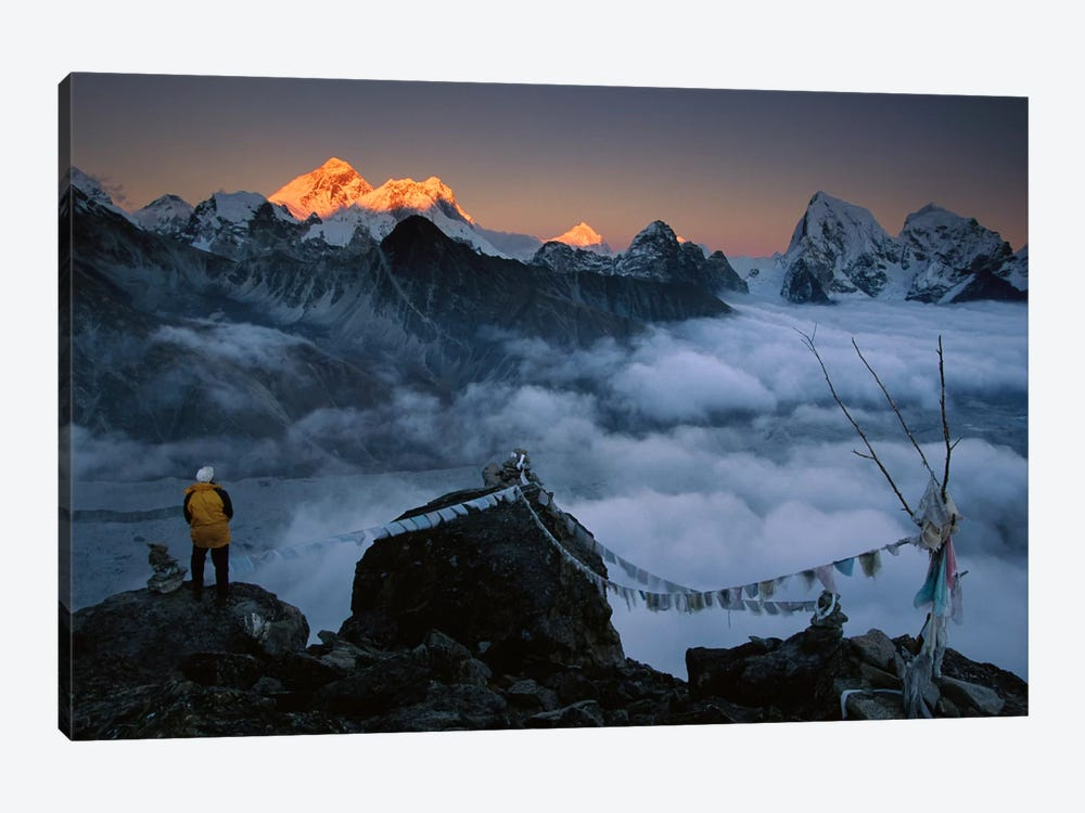 Mountaineer Enjoying The View Of Mt Everest And The Himalayan Mountains At Sunset From Gokyo Ri, Khumbu, Nepal by Colin Monteath 1-piece Canvas Print