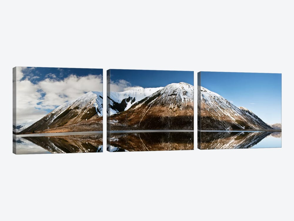 Mountains Reflecting In Lake Pearson In Winter, Castle Hill Basin, Canterbury, New Zealand by Colin Monteath 3-piece Canvas Wall Art