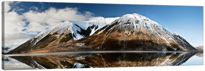 Mountains Reflecting In Lake Pearson In Winter, Castle Hill Basin, Canterbury, New Zealand Canvas Art Print
