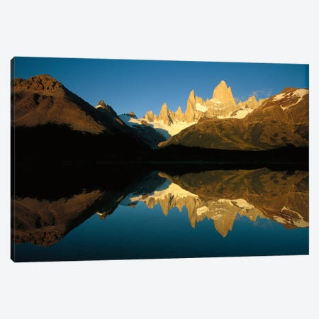 Mt Fitzroy Reflected In Lake At Dawn, Los Glaciares National Park, Patagonian Andes, Argentina - Horizontal Canvas Print #COL38} by Colin Monteath Canvas Wall Art