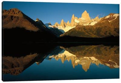 Mt Fitzroy Reflected In Lake At Dawn, Los Glaciares National Park, Patagonian Andes, Argentina - Horizontal Canvas Art Print