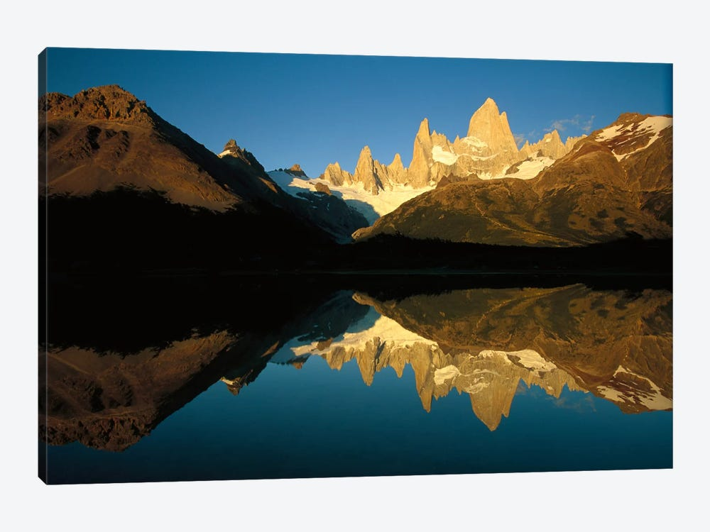 Mt Fitzroy Reflected In Lake At Dawn, Los Glaciares National Park, Patagonian Andes, Argentina - Horizontal by Colin Monteath 1-piece Canvas Art Print