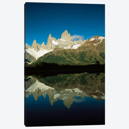 Mt Fitzroy Reflected In Lake At Dawn, Los Glaciares National Park, Patagonian Andes, Argentina - Vertical Canvas Print #COL39} by Colin Monteath Canvas Art