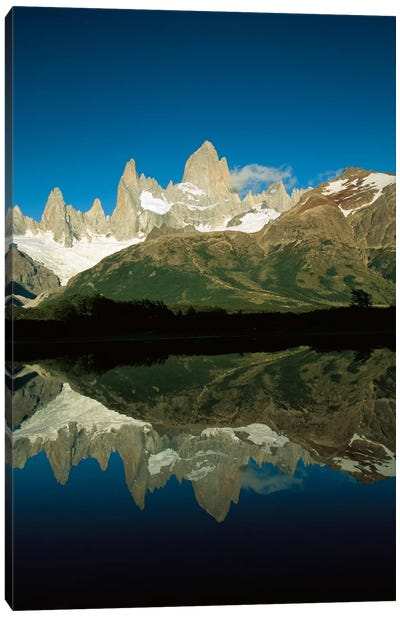 Mt Fitzroy Reflected In Lake At Dawn, Los Glaciares National Park, Patagonian Andes, Argentina - Vertical Canvas Art Print