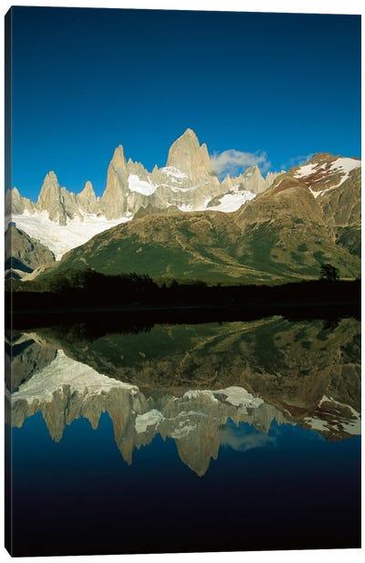 Mt Fitzroy Reflected In Lake At Dawn, Los Glaciares National Park, Patagonian Andes, Argentina - Vertical Canvas Art Print