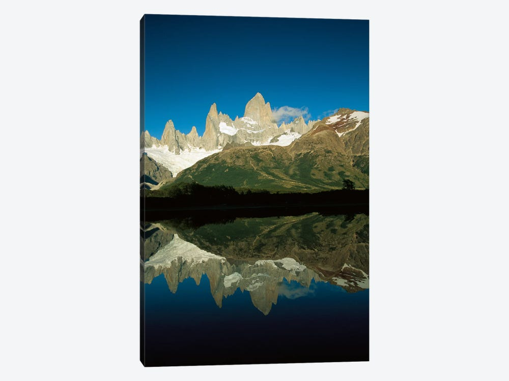 Mt Fitzroy Reflected In Lake At Dawn, Los Glaciares National Park, Patagonian Andes, Argentina - Vertical by Colin Monteath 1-piece Canvas Artwork