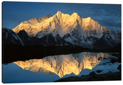 Mt Makalu And Mt Chomolonzo Bathed In Dawn Light, Reflected In Small Lake, Khama Valley, Tibet Canvas Art Print