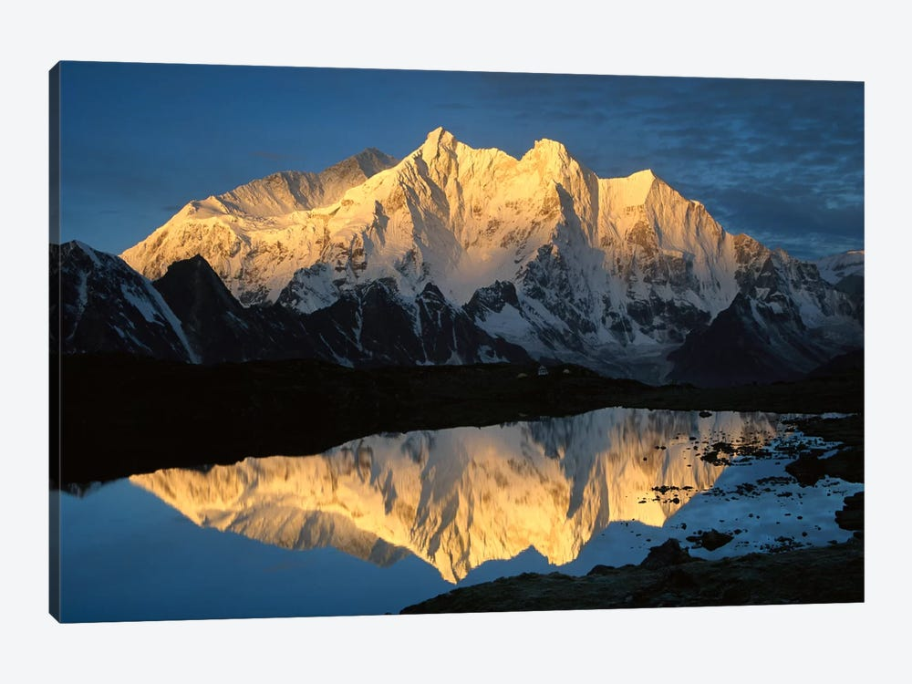 Mt Makalu And Mt Chomolonzo Bathed In Dawn Light, Reflected In Small Lake, Khama Valley, Tibet by Colin Monteath 1-piece Canvas Artwork