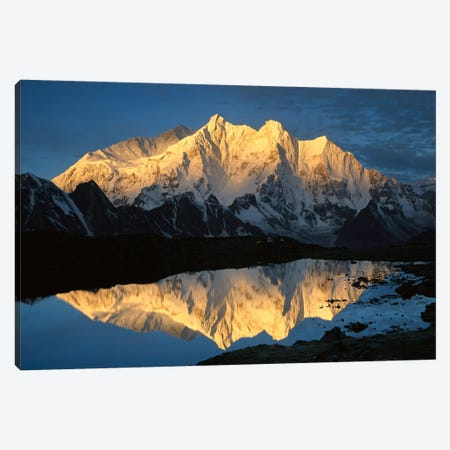 Mt Makalu And Mt Chomolonzo Bathed In Dawn Light, Reflected In Small Lake, Khama Valley, Tibet Canvas Print #COL40} by Colin Monteath Canvas Print