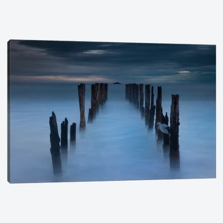Old Wharf At Dawn, Saint Clair Beach, Dunedin, Otago, New Zealand Canvas Print #COL41} by Colin Monteath Canvas Print